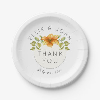 Wedding Thank You Favor Watercolor Star Flower Paper Plate
