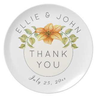 Wedding Thank You Favor Watercolor Star Flower Plate
