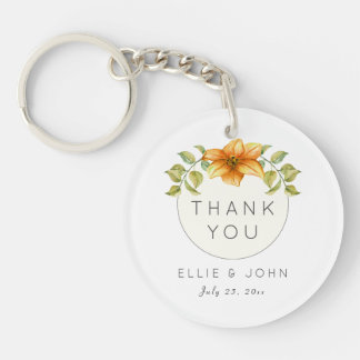 Wedding Thank You Favor Watercolor Star Flower Single-Sided Round Acrylic Key Ring