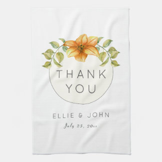Wedding Thank You Favor Watercolor Star Flower Tea Towel