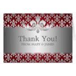 "Wedding ""Thank you"" Fleur De Lis Red Greeting Card"