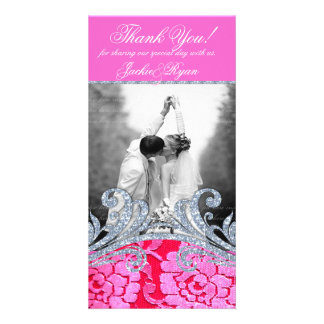 Wedding Thank You Floral Lace Flower Glitter Personalized Photo Card
