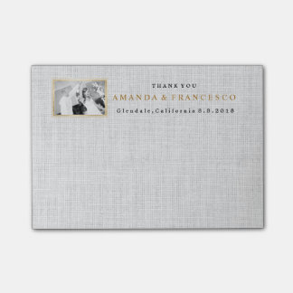 Wedding Thank You Gift Favor Burlap Gray Post-it® Notes