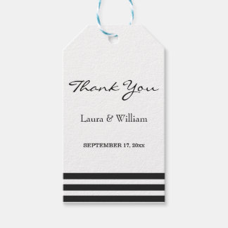 Wedding Thank You Gift Tags | Black Stripes