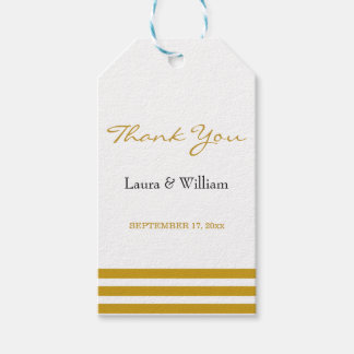 Wedding Thank You Gift Tags | Gold Stripes