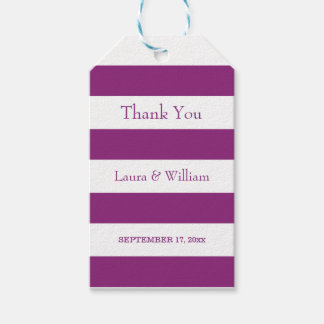 Wedding Thank You Gift Tags | Purple Stripes