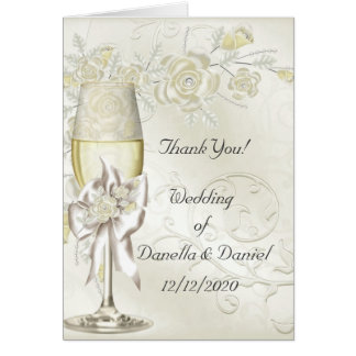 Wedding Thank You Gold Cream Pearl Floral Roses Card