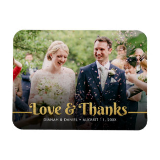 Wedding Thank You Gold Love And Thanks Photo Magnet