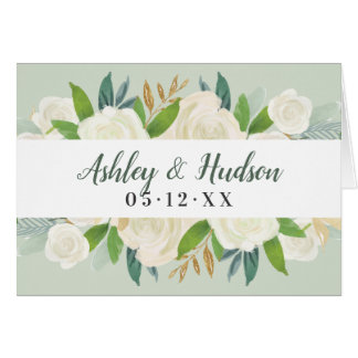 Wedding Thank You | Green Watercolor Blooms Card