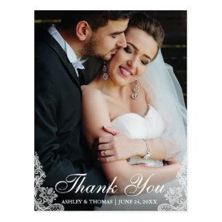 Wedding Thank You Lace Trim Photo Postcard