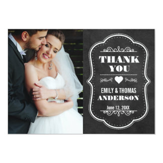 Wedding Thank You Modern Chalkboard Photo Card BW