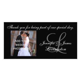 Wedding Thank You Monogram & Couple Photograph Personalized Photo Card