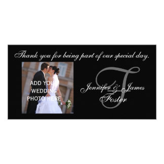 Wedding Thank You Monogram F and Message Photo Cards