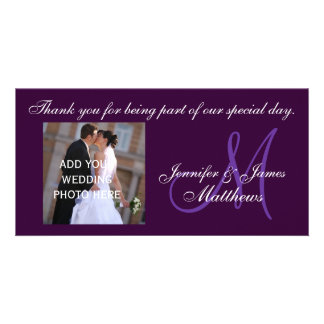 Wedding Thank You Monogram Message Purple Photo Card Template