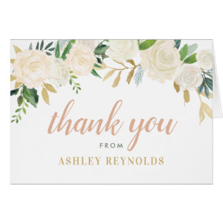 Wedding Thank You | Neutral Watercolor Blooms Card