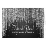 "Wedding ""Thank you"" Night Dazzle Black Greeting Card"