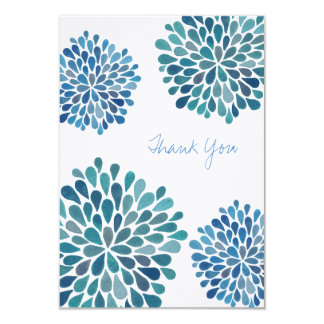 Wedding Thank You Note Blue Blooms Flower Cards 9 Cm X 13 Cm Invitation Card