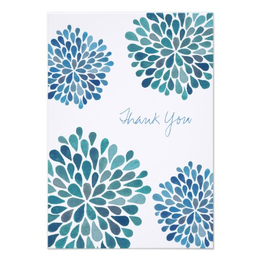 Wedding Thank You Note Blue Blooms Flower Cards Invitations