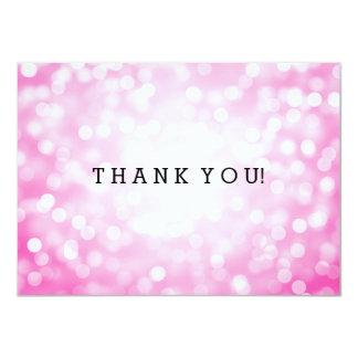 Wedding Thank You Note Pink Glitter Lights 11 Cm X 16 Cm Invitation Card