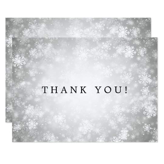 Wedding Thank You Note Silver Winter Wonderland Card