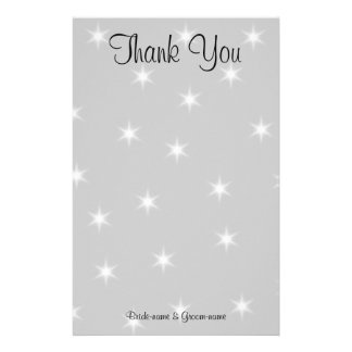 Wedding Thank You, Pale Gray with White Stars. Stationery