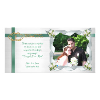 Wedding thank you photo card ribbons