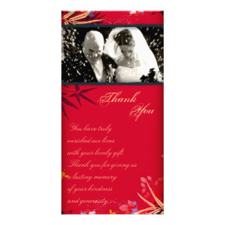 Wedding Thank You Photo Card Vintage Bamboo Leaves