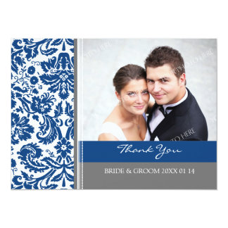 Wedding Thank You Photo Cards Blue Gray Personalized Invitation