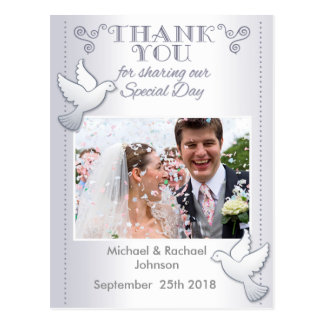 Wedding Thank You Photo Postcard Lovebirds