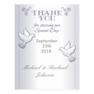 Wedding Thank You Postcard Vintage Love Birds