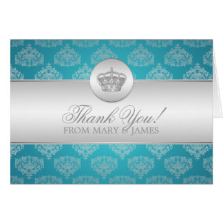 Wedding Thank you Royal Crown Blue Greeting Cards
