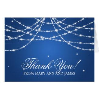 "Wedding ""Thank you"" Sparkling String Blue Card"