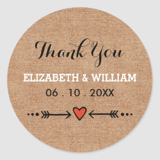 Wedding Thank You Sticker Pink Sweethearts Arrows