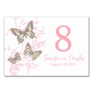 Wedding three graphic butterflies name and date table cards