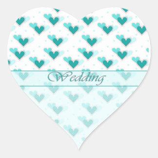 Wedding Three Turquoise Hearts Rows Heart Sticker
