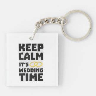 wedding time keep calm Zw8cz Double-Sided Square Acrylic Key Ring