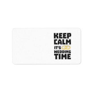 wedding time keep calm Zw8cz Label