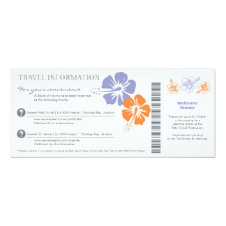 Wedding Travel Info Boarding Pass 10 Cm X 24 Cm Invitation Card