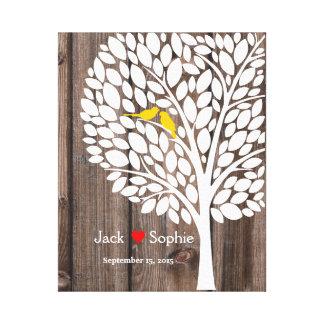 wedding tree signature guestbook birds yellow wood canvas print