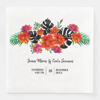 Wedding Trendy Watercolor Floral Tropical Plant Disposable Napkins