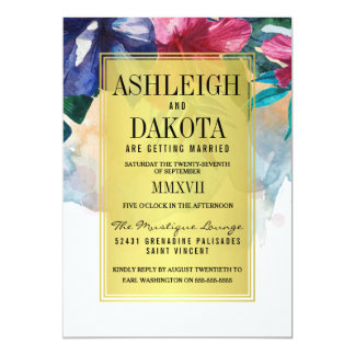 Wedding | Tropical Watercolor Flowers Card