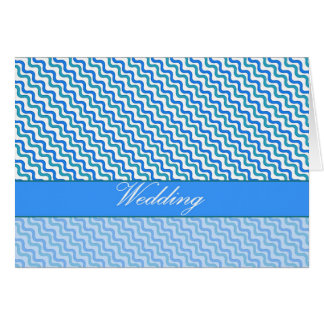 Wedding Turquoise Blue Wavy Pattern Card