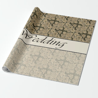 Wedding Two Tone Beige Brocade Wrapping Paper