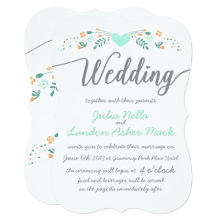 Wedding Typography Folk Art Floral Wedding Invites