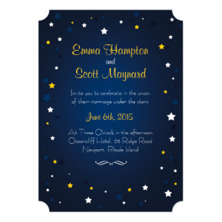 Wedding under the sky night stars invitation