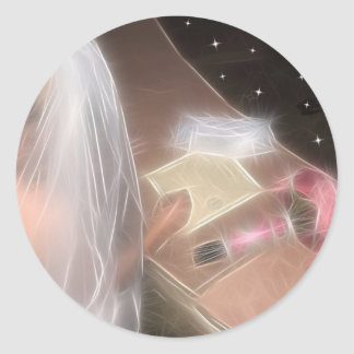 Wedding under the stars classic round sticker