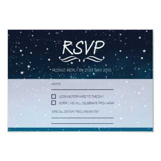 Wedding under the stars RSVP blue night sky Card