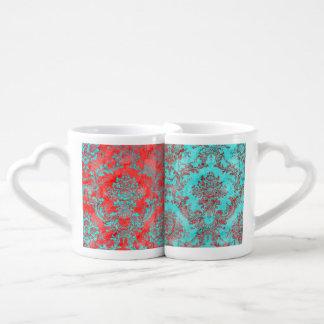 Wedding Vintage Damask Floral Flower Red Blue Lovers Mug Sets