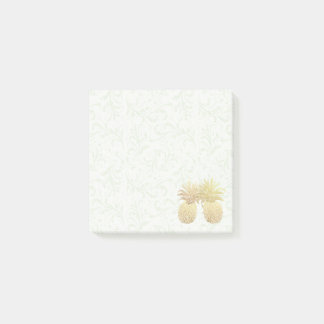 Wedding Vintage Gold Pineapple Couple Damask Paper Post-it Notes