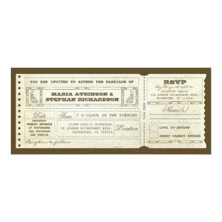 wedding vintage ticket invitation & rsvp design